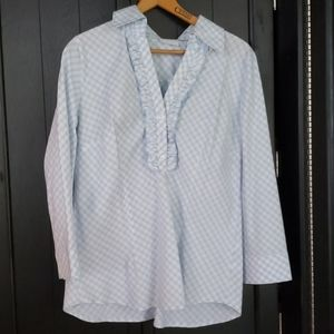 New York and company blue gingham 3/4 sleeve shirt